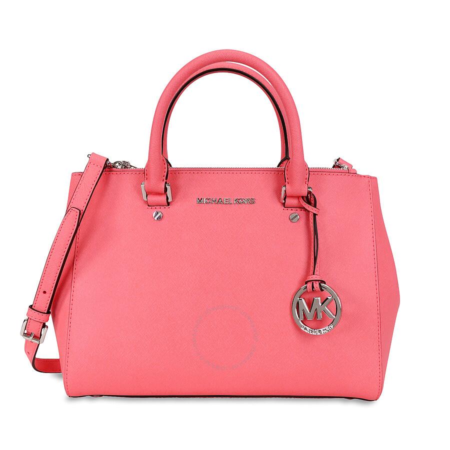 Michael Kors Sutton Leather Medium Satchel Handbag - Coral ...