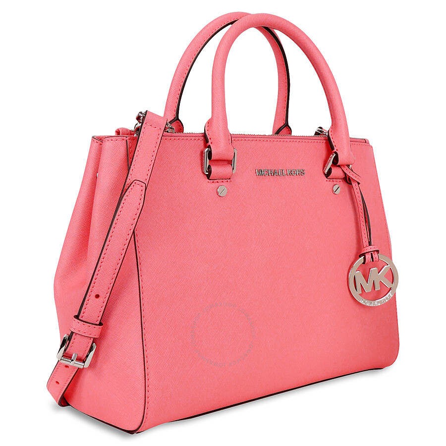 7de94ad6b1f0 Michael Kors Sutton Leather Medium Satchel Handbag - Coral .