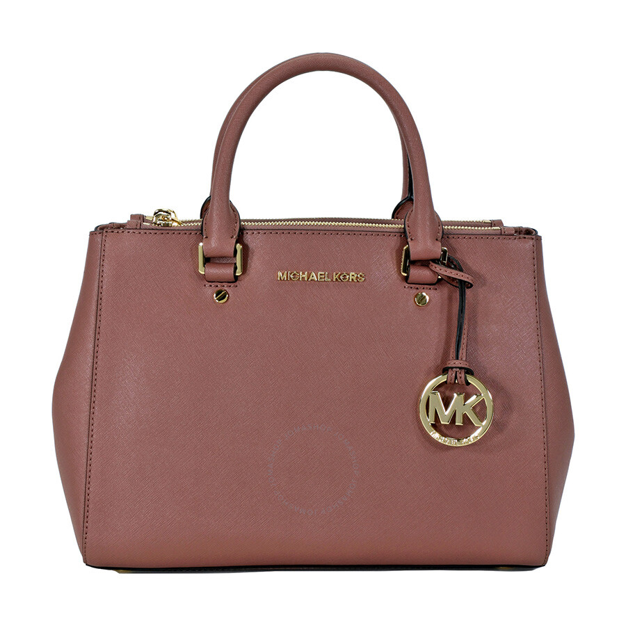 Michael Kors Sutton Leather Medium Satchel Handbag - Dusty Rose ...