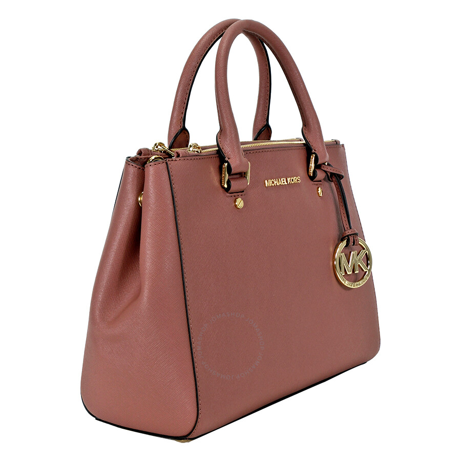 c7de26200d Michael Kors Sutton Leather Medium Satchel Handbag - Dusty Rose ...