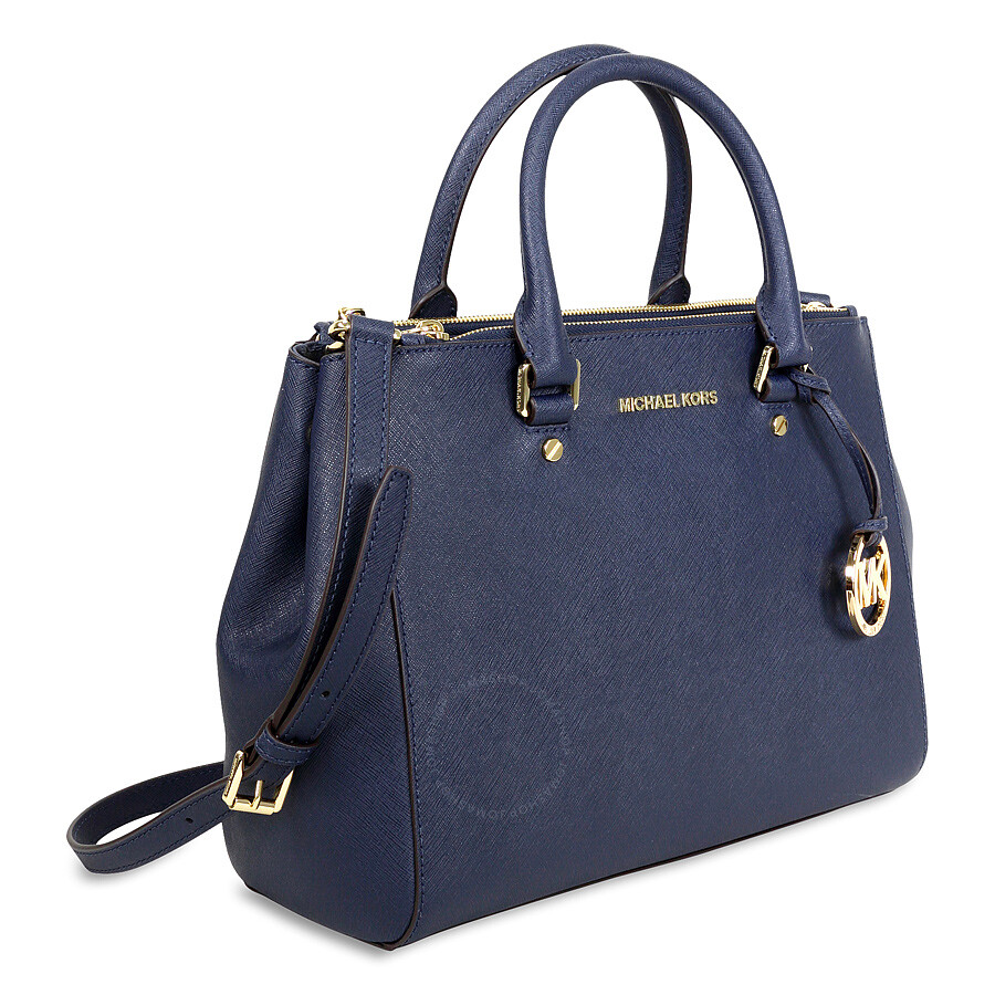 Michael Kors Sutton Leather Medium Satchel Handbag - Navy - Sutton ...
