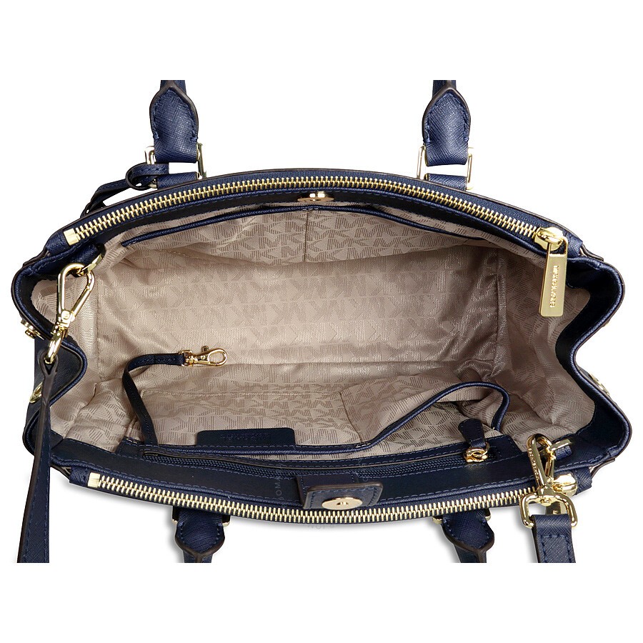 e42bcad6889 Michael Kors Sutton Leather Medium Satchel Handbag - Navy - Sutton ...