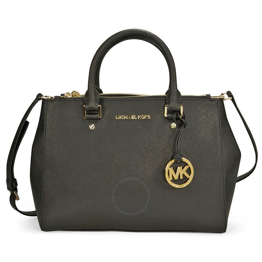 74e0f9a64db33 Michael Kors Sutton Leather Medium Satchel Handbag - Black - Sutton ...