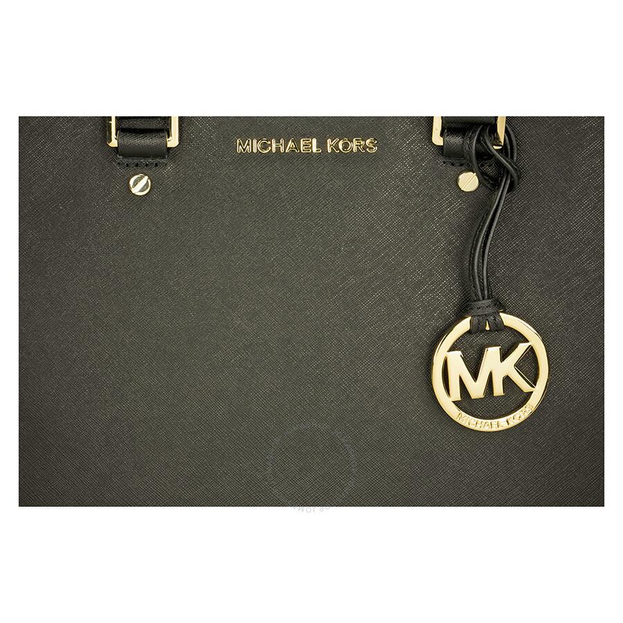 Michael Kors Sutton Leather Medium Satchel Handbag - Black ...