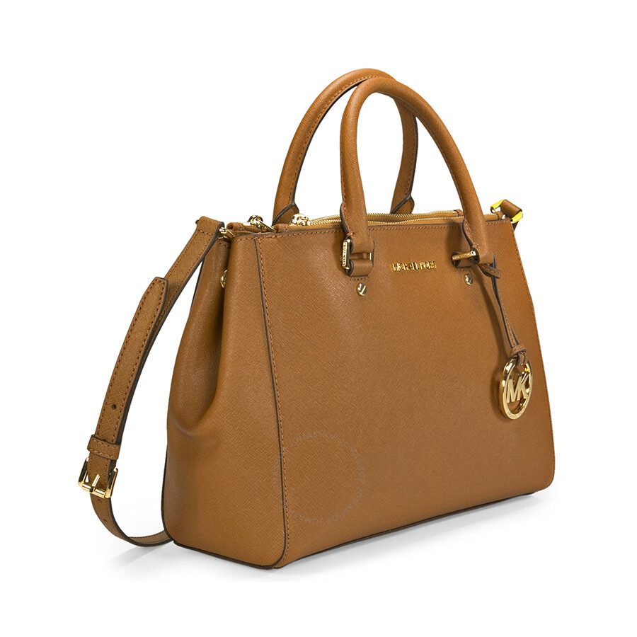 Michael Kors Sutton Leather Medium Satchel Handbag - Brown ...