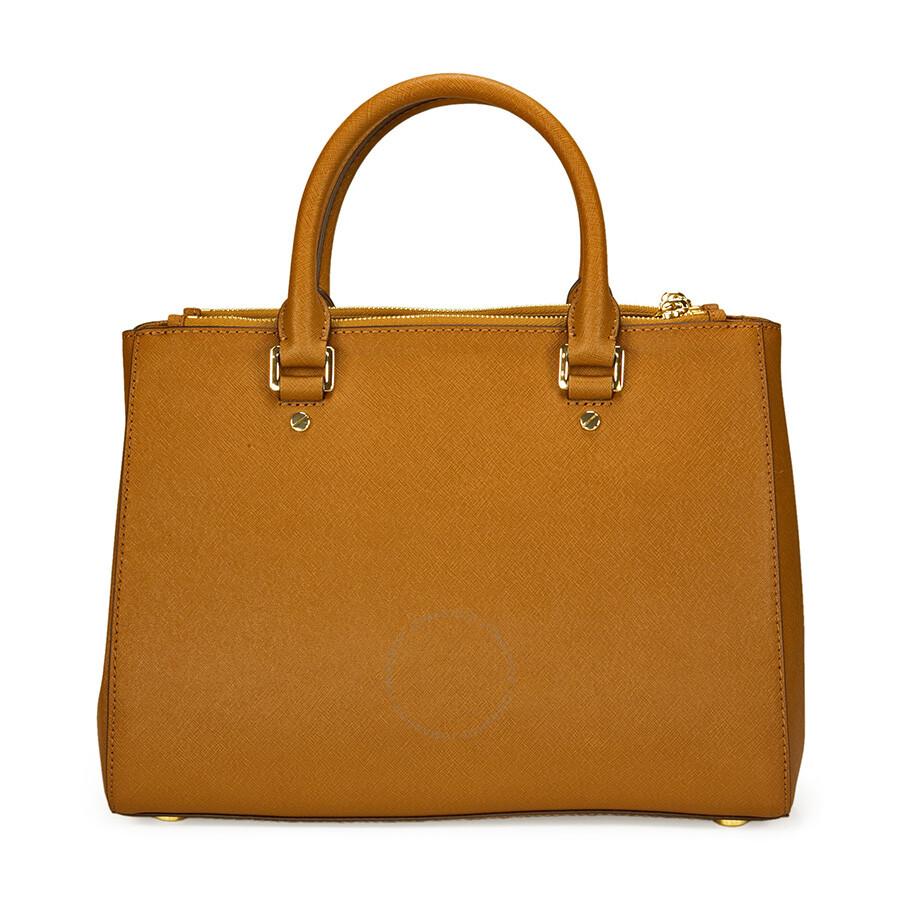 Michael Kors Sutton Leather Medium Satchel Handbag Brown