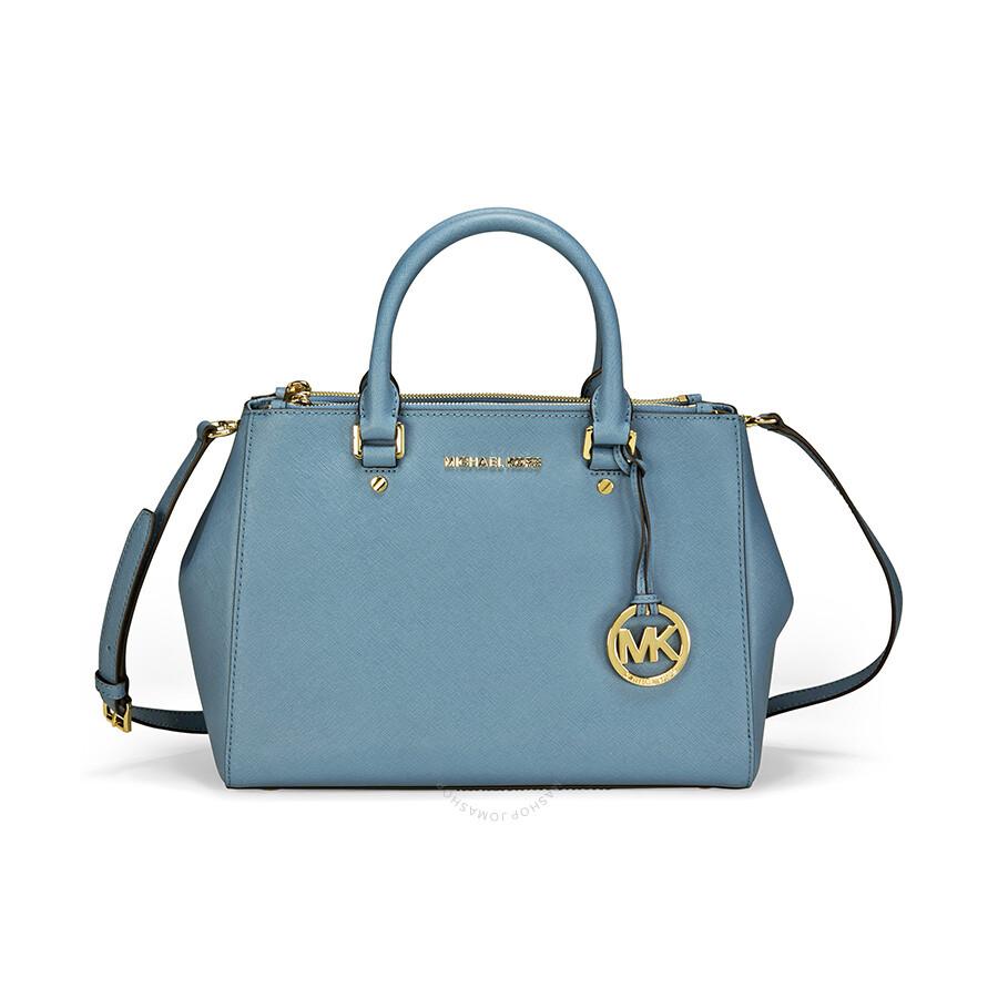 Michael Kors Sutton Leather Medium Satchel Handbag - Cornflower ...