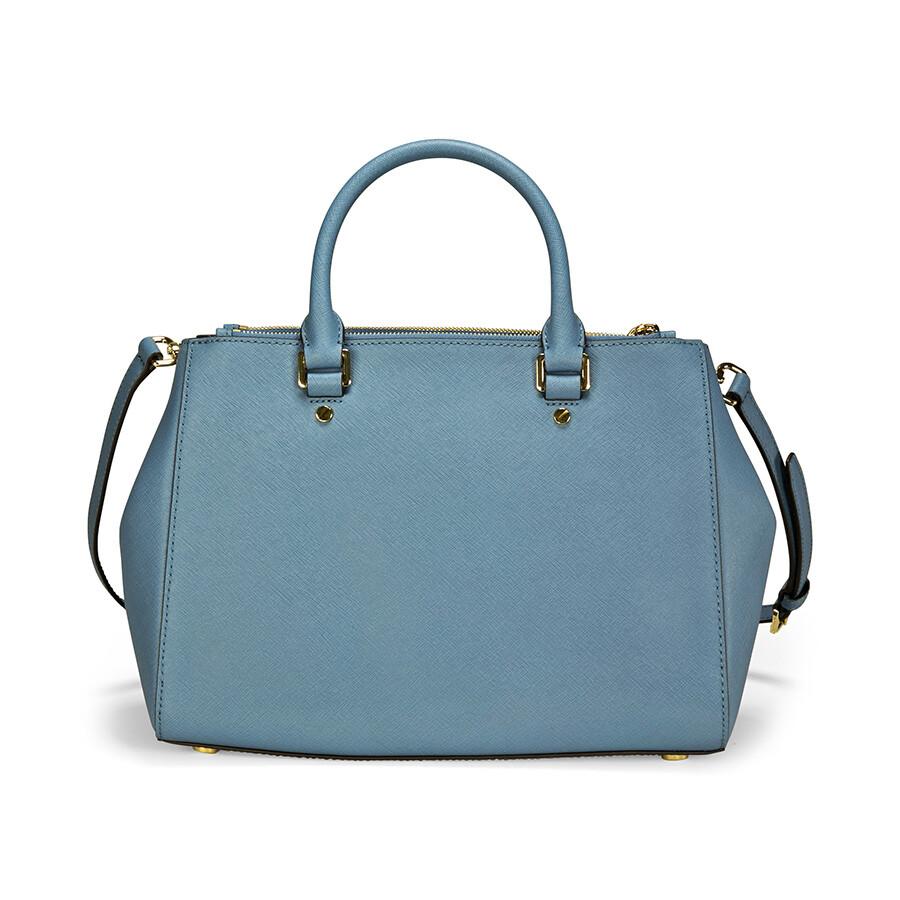 c4e8359c0cfa Michael Kors Sutton Leather Medium Satchel Handbag - Cornflower ...