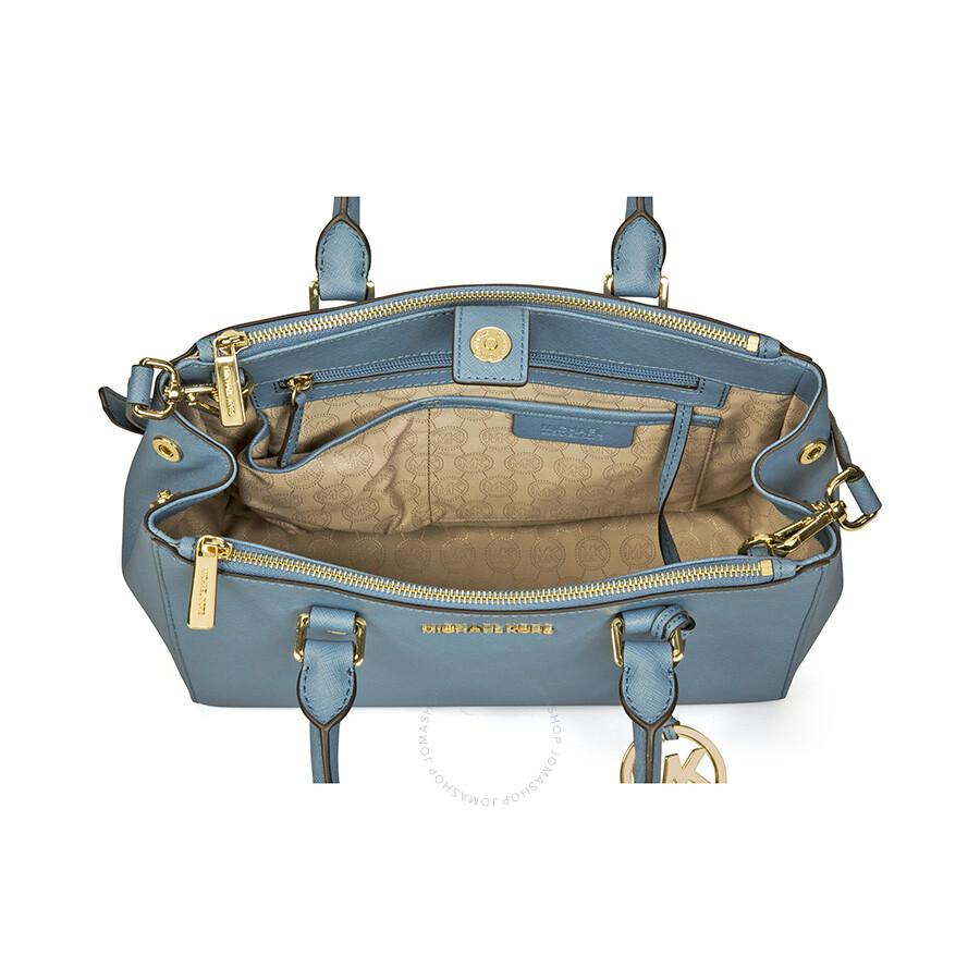 798e1702c09f Michael Kors Sutton Leather Medium Satchel Handbag - Cornflower Item No.  30S4GTVS6L-557