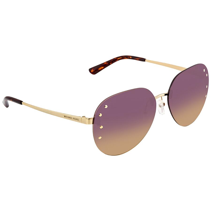 5bd1e819ad00 Michael Kors Sydney Purple Yellow Gradient Aviator Ladies Sunglasses MK1037  121270 60 ...