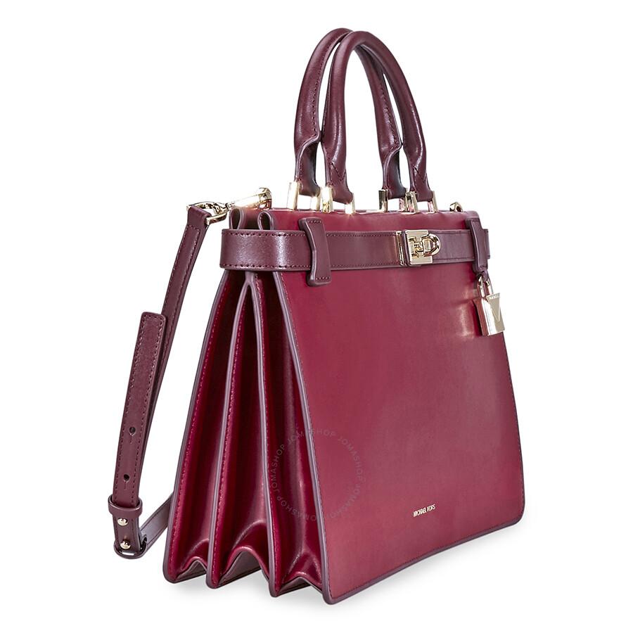 49977d432a3f20 Michael Kors Tatiana Medium Leather Satchel - Red - Michael Kors ...