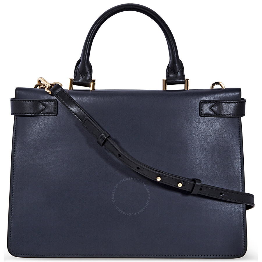 8ebda7a1d919 Michael Kors Tatiana Medium Leather Satchel- Navy/ Black - Michael ...