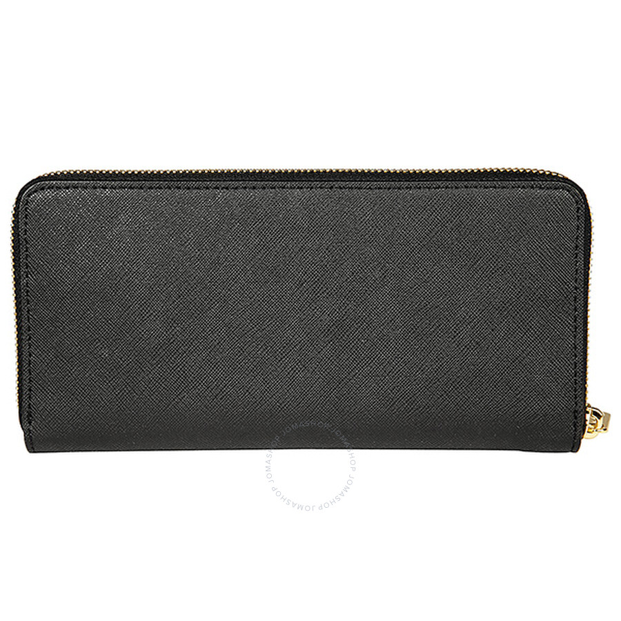 6bea3f324037a6 Michael Kors Travel Zip Around Black Leather Continental Wallet Item No.  32S3GTVE3L-001