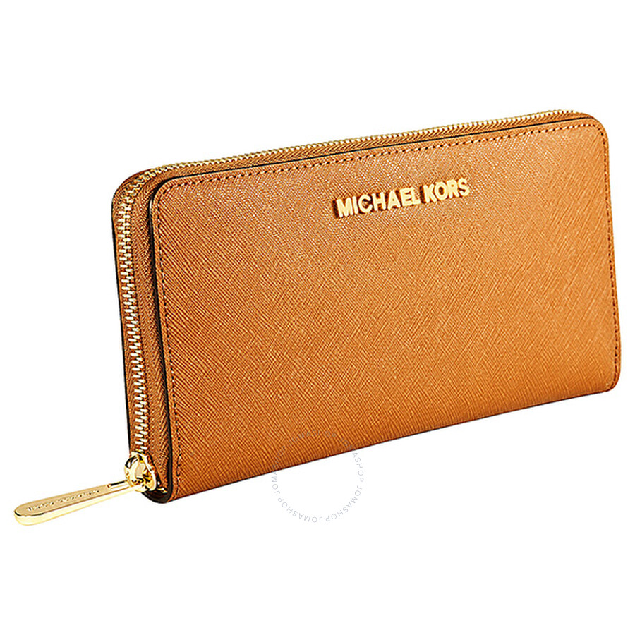 92ad2f4f8e09 Michael Kors Travel Zip Around Luggage Leather Continental Wallet ...