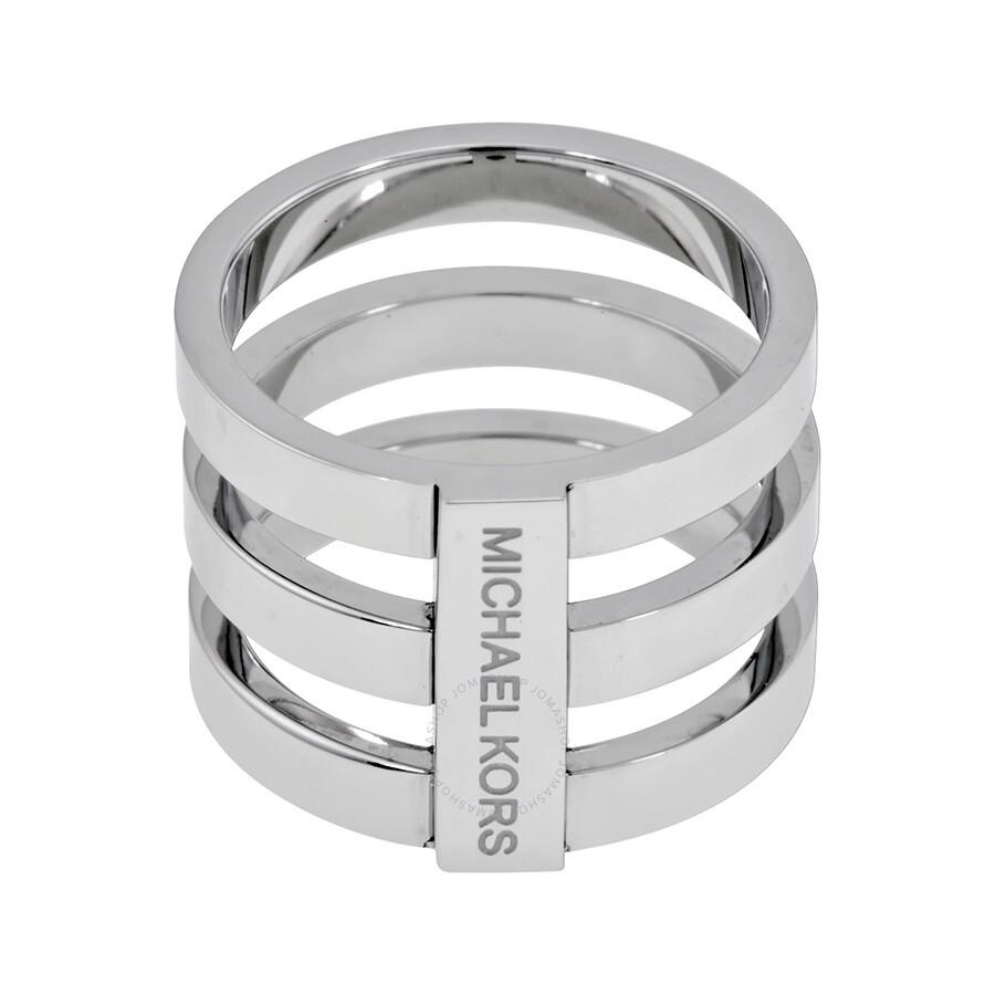 michael kors tri stack silver tone ring size 6 michael