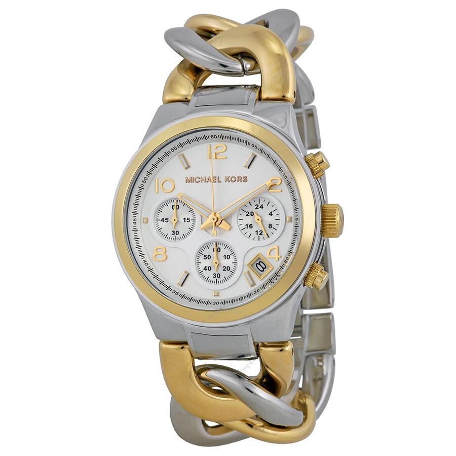 5528fe385d681 Michael Kors Twist Chain Chronograph White Dial Ladies Watch MK3199 ...