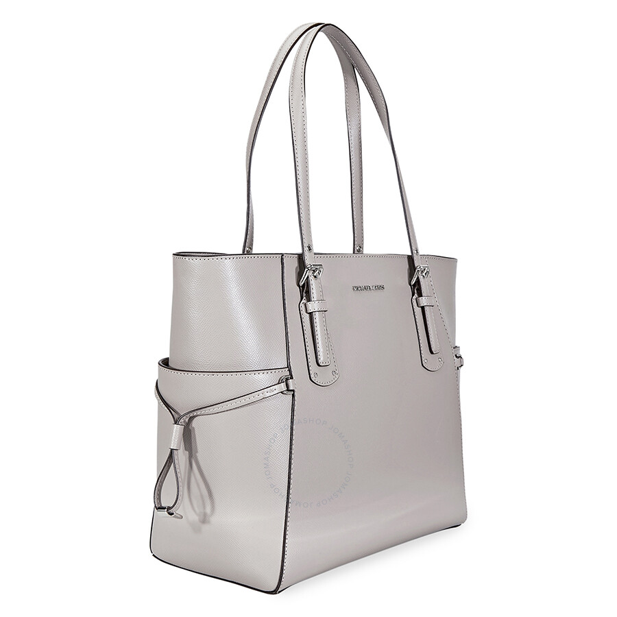 f7e91e53a7ed32 Michael Kors Voyager Crossgrain Leather Tote- Pearl Grey - Michael ...