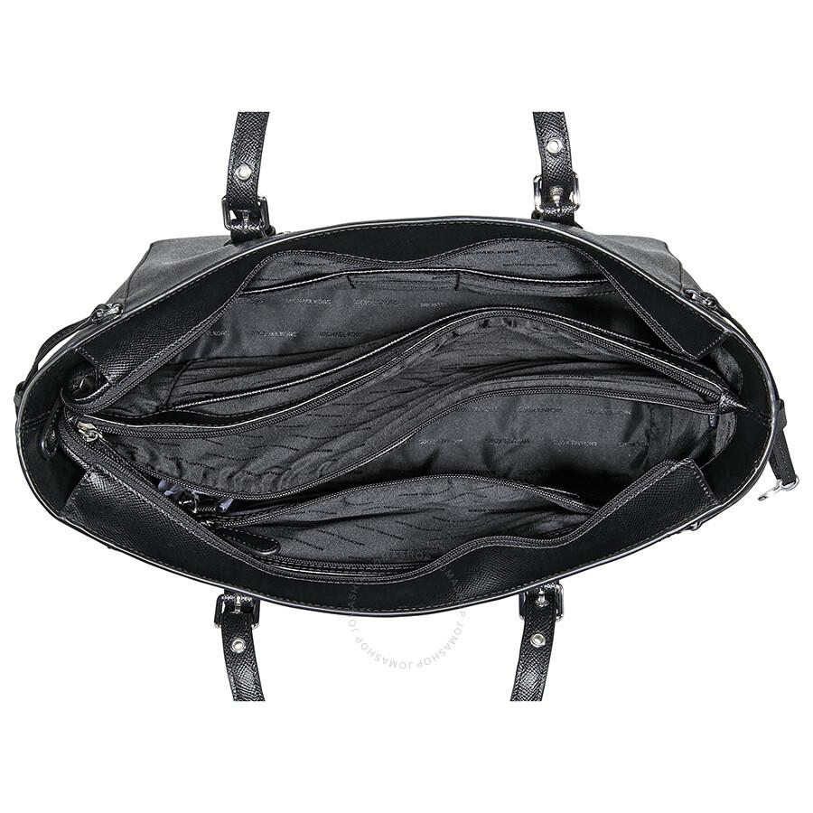 8c5af38285ac3d Michael Kors Voyager Medium Leather Tote - Black - Michael Kors ...