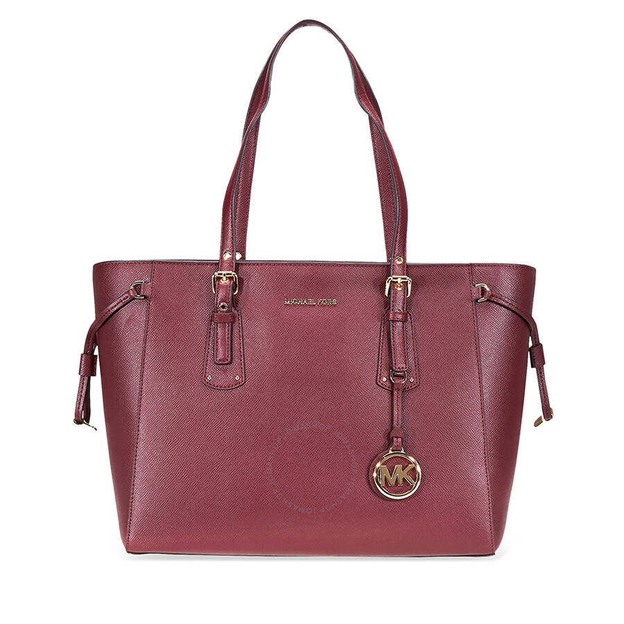 Michael Kors Voyager Medium Textured Leather Tote Oxblood