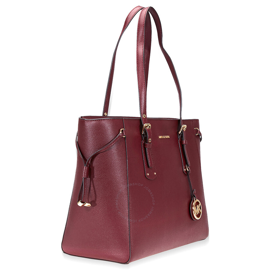 37d7453669e5 Michael Kors Voyager Medium Textured Leather Tote- Oxblood - Michael ...