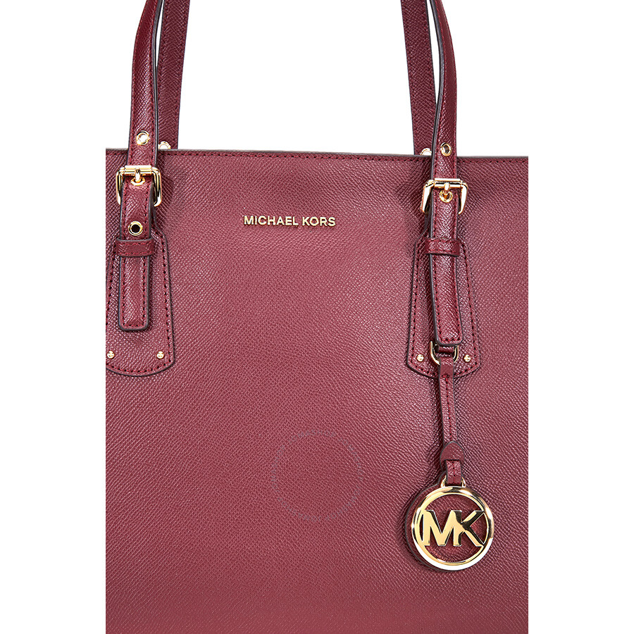 cb14eabff8c2 Michael Kors Voyager Medium Textured Leather Tote- Oxblood - Michael ...