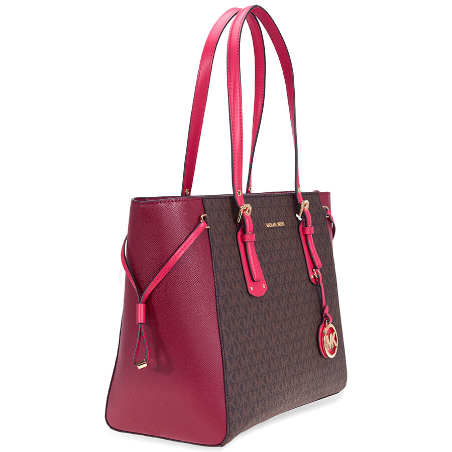 fee9095e9d9fda Michael Kors Voyager Medium Tote- Brown/ Mulberry/ Ultra Pink ...