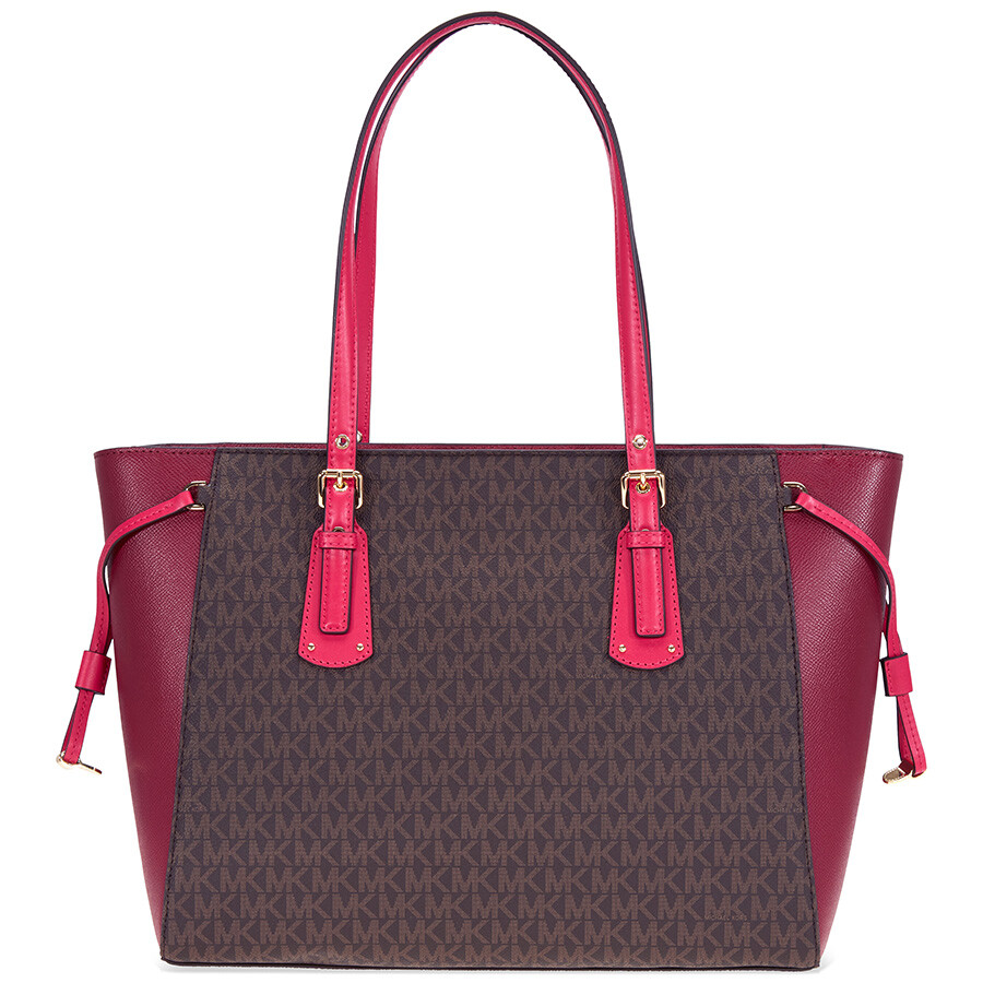Michael Kors Voyager Medium Tote- Brown  Mulberry  Ultra Pink Item No.  30H7GV6T8B-125 561fa3863a08a