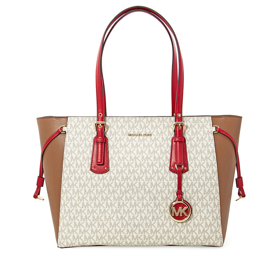Michael Kors Voyager Medium Tote- Vanilla  Acorn  Bright Red Item No.  30H7GV6T8B-181 bcf9b7e6e6ade