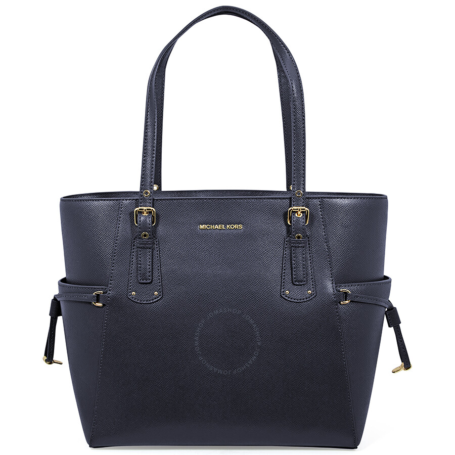 2d3a40e83e71 Michael Kors Voyager Textured Crossgrain Leather Tote- Admiral ...