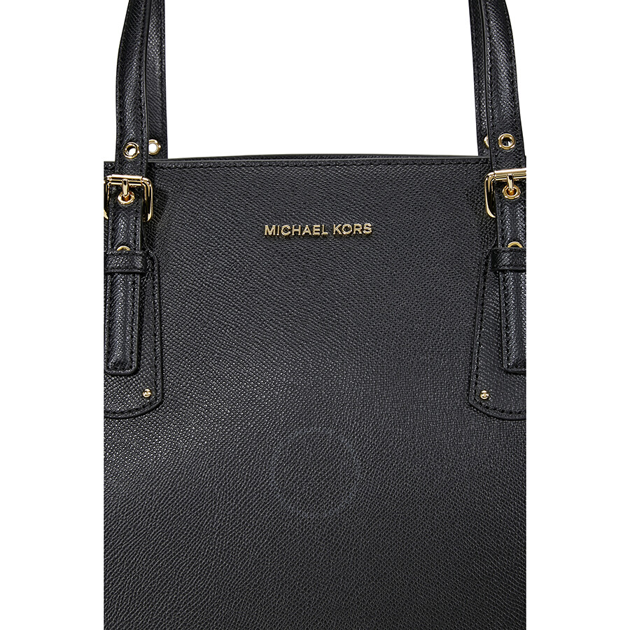 816f5205df54 Michael Kors Voyager Textured Crossgrain Leather Tote- Black ...