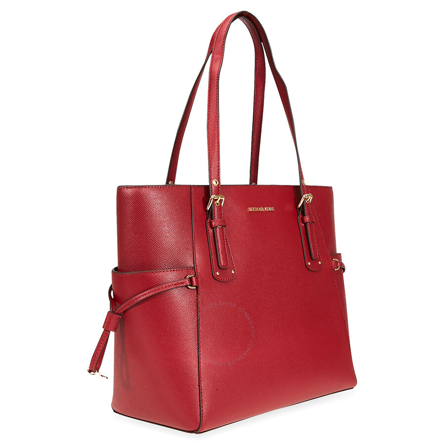 5b16b9c18b7ac9 Michael Kors Voyager Textured Crossgrain Leather Tote- Maroon ...
