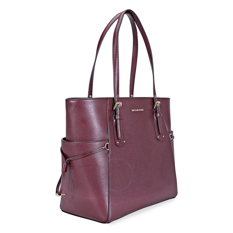 865f297106db Michael Kors Voyager Textured Crossgrain Leather Tote- Oxblood ...