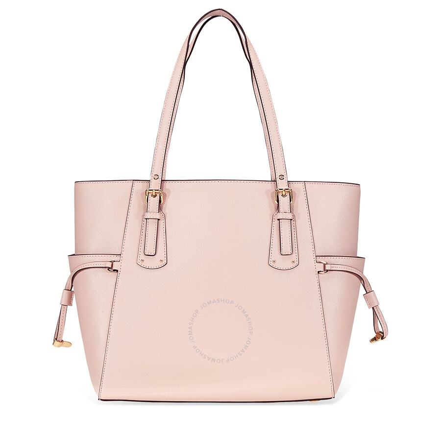 1abab5674752 Michael Kors Voyager Textured Crossgrain Leather Tote- Soft Pink ...