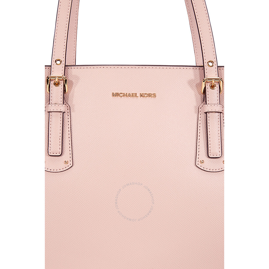 bb85cd383a21 Michael Kors Voyager Textured Crossgrain Leather Tote- Soft Pink ...