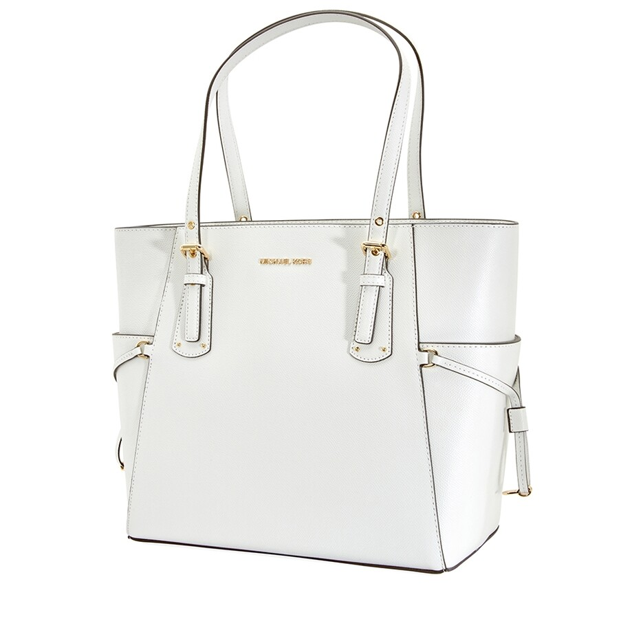 Michael Kors Small Voyager Textured Crossgrain Leather Tote White