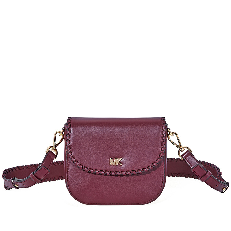 99b86ecd6be22 Michael Kors Whipstitched Leather Saddle Bag- Oxblood Item No.  32F8GF5C8O-610