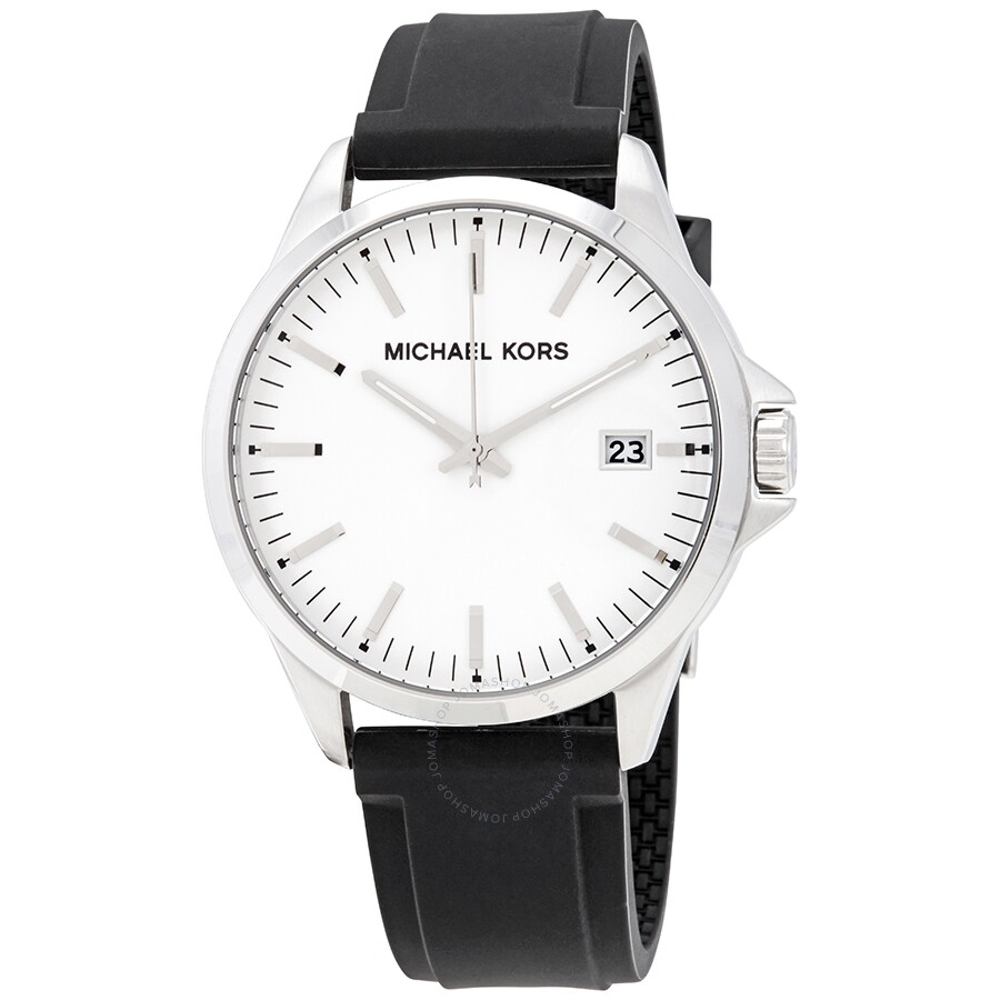 7207bc2017b3b Michael Kors White Dial Men's Rubber Watch MK7070 - Michael Kors ...