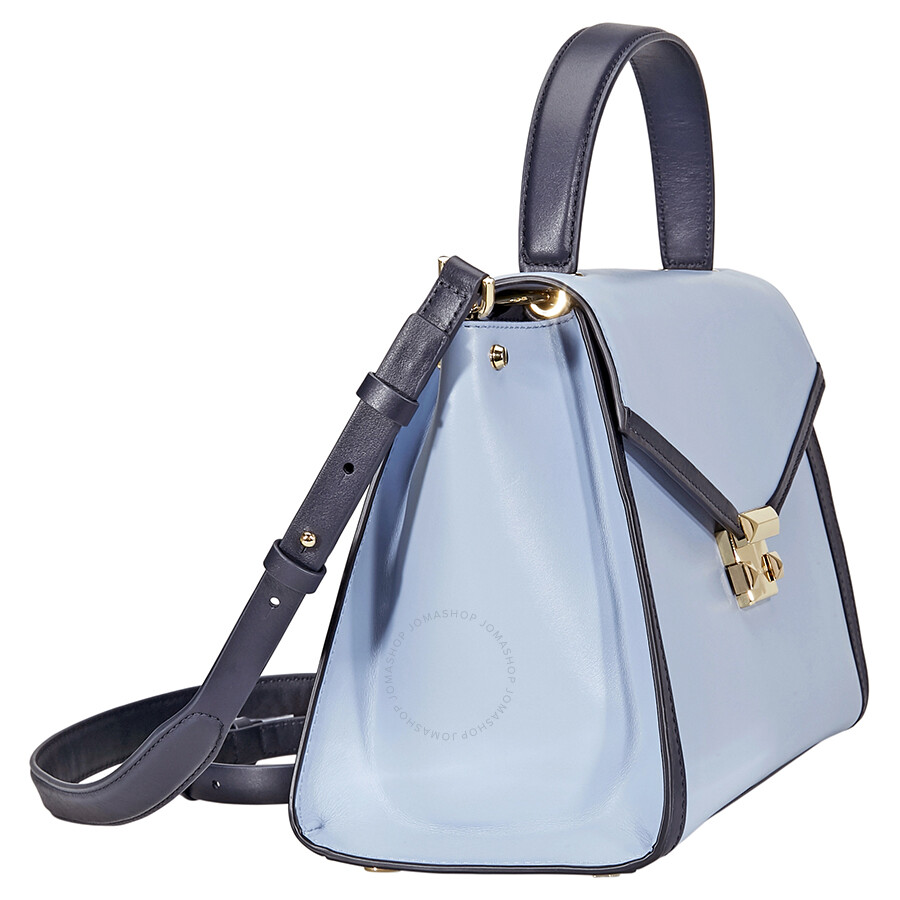 845443a36682 Michael Kors Whitney Large Leather Satchel- Pale Blue/Admiral ...