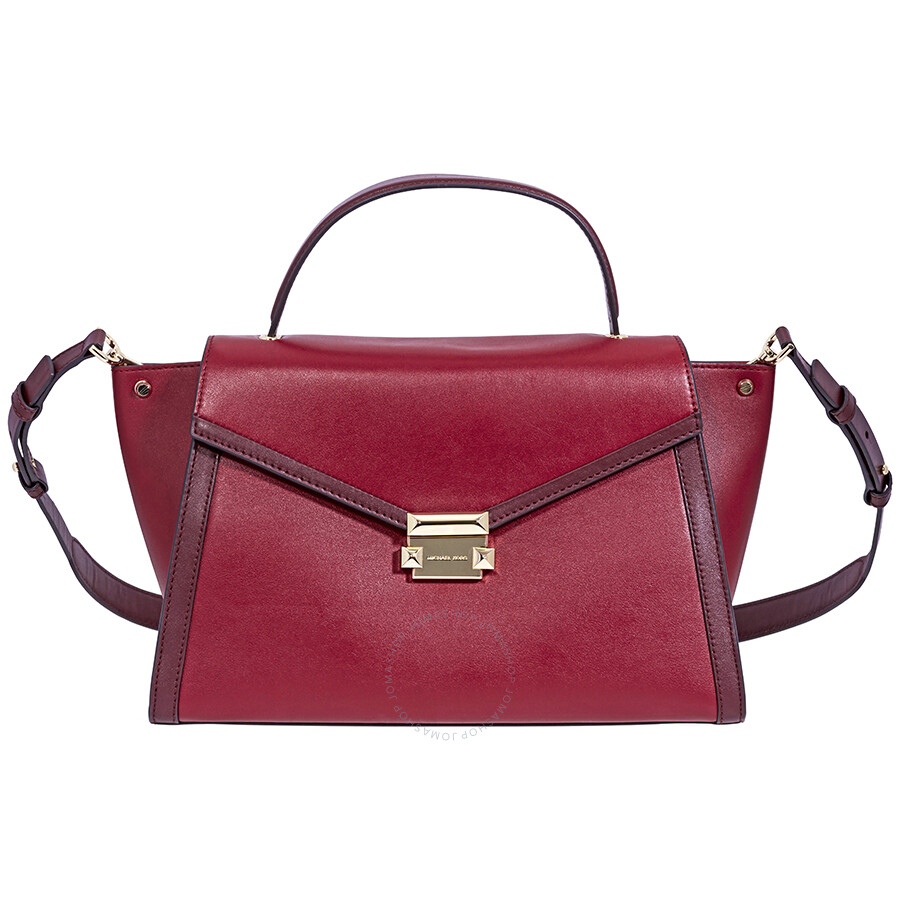 Michael Kors Whitney Large Leather Satchel Red