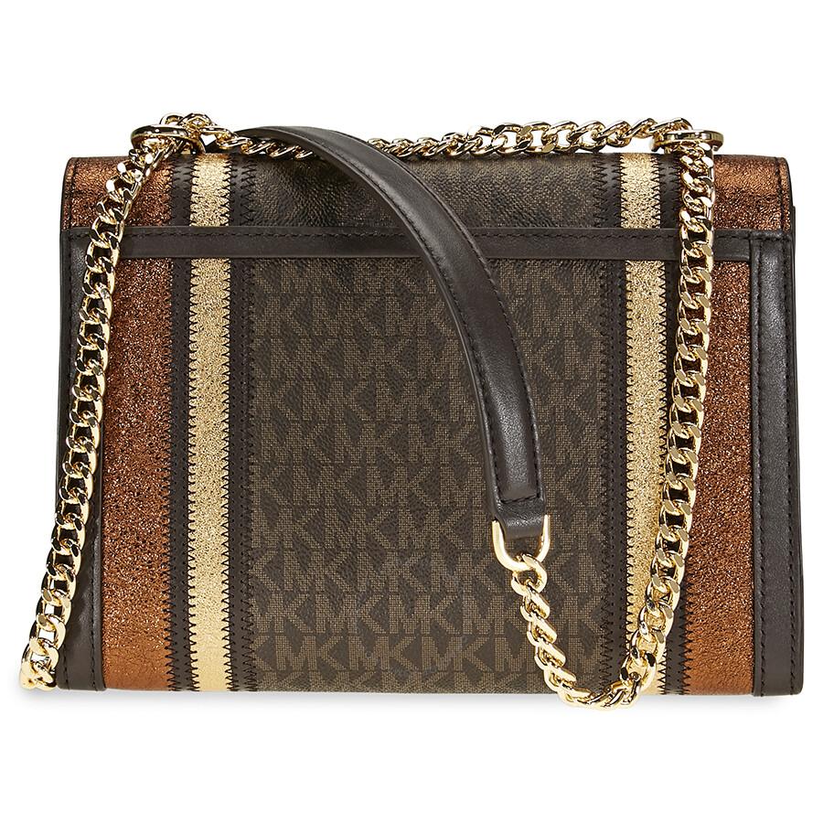9669af9febe4 Michael Kors Whitney Large Logo Print Convertable Shoulder Bag - Brown Gold