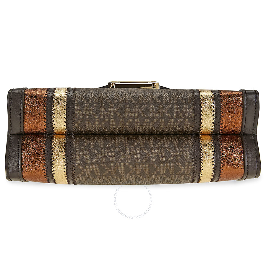 0984101751c1 Michael Kors Whitney Large Logo Print Convertable Shoulder Bag - Brown Gold