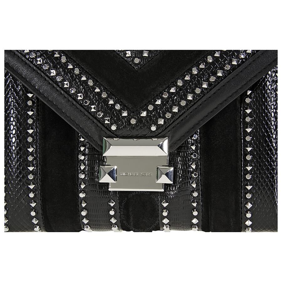 d2582fa9a337 Michael Kors Whitney Large Mixed-Media Shoulder Bag- Black - Michael ...