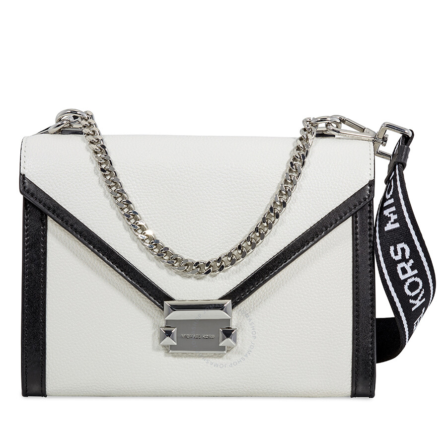 e1d780e3ab Michael Kors Whitney Large Pebbled Leather Shoulder Bag - White Black Item  No. 30H8SWHL3L-089
