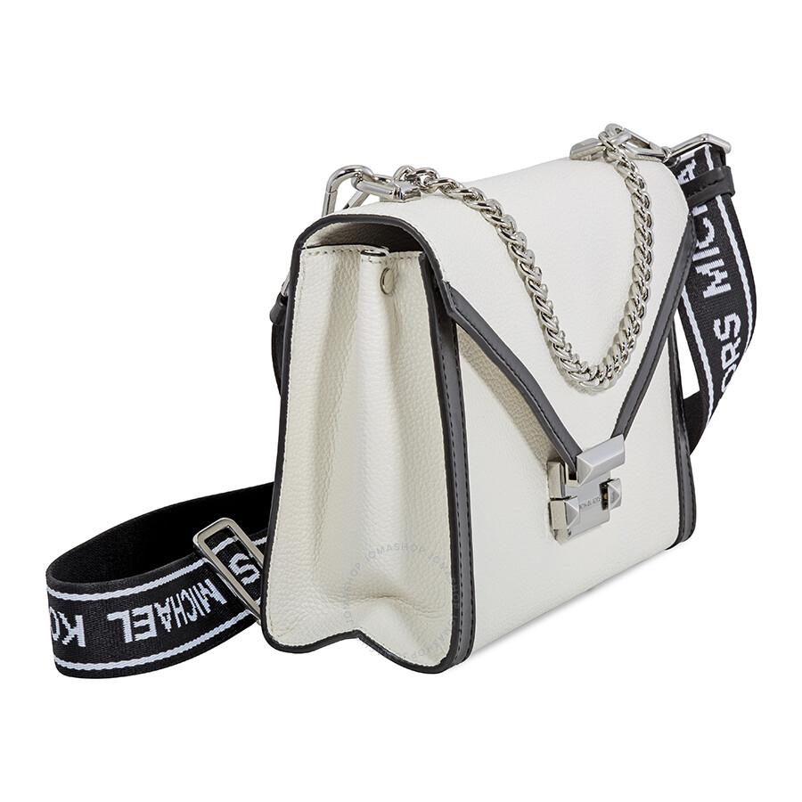 7c52cfcfbfc2 Michael Kors Whitney Large Pebbled Leather Shoulder Bag - White Black