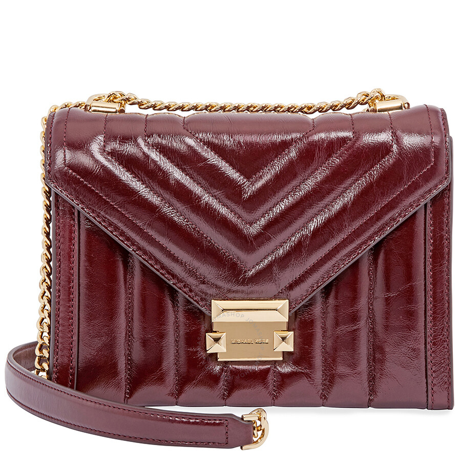 45e43d81e59d Michael Kors Whitney Large Quilted Leather Shoulder Bag - Oxblood Item No.  30F8GXIL9T-610