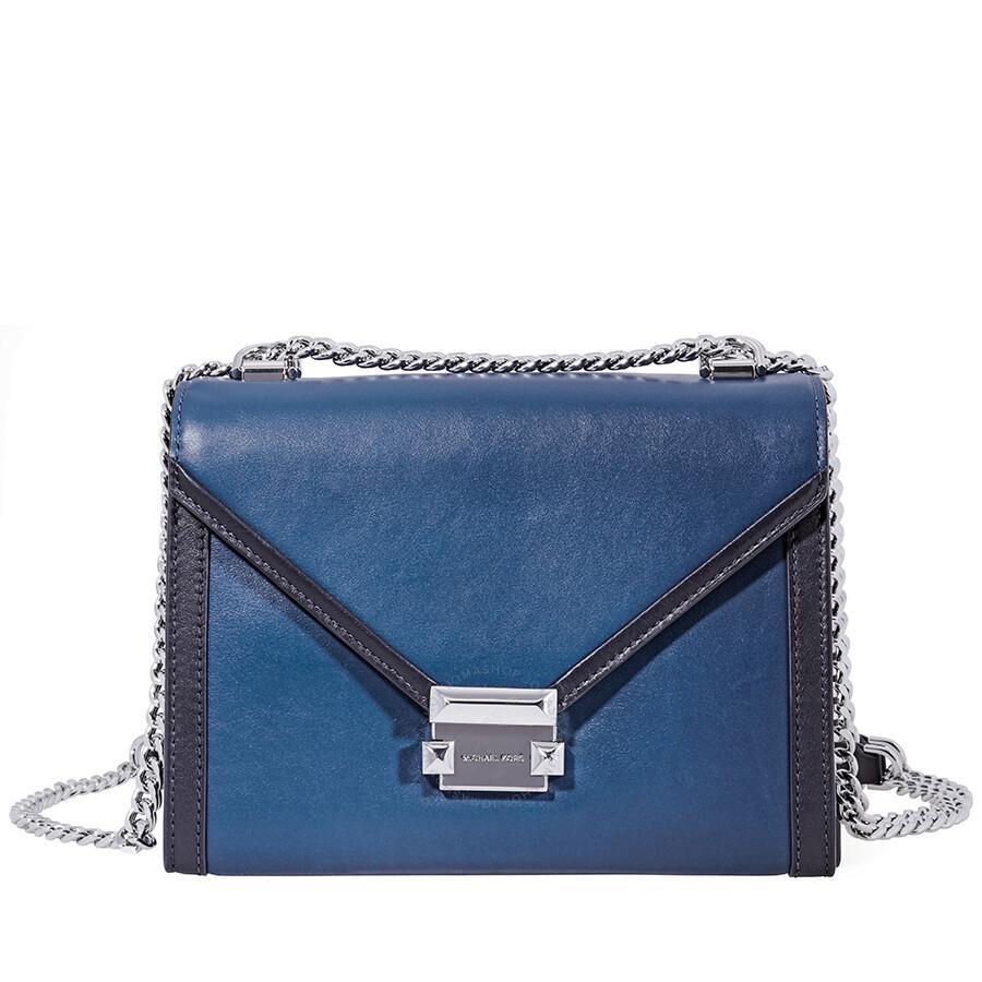 a9b3b40b1c07 Michael Kors Whitney Large Shoulder Bag- Blue/Black Item No. 30T8SXIL3T-346