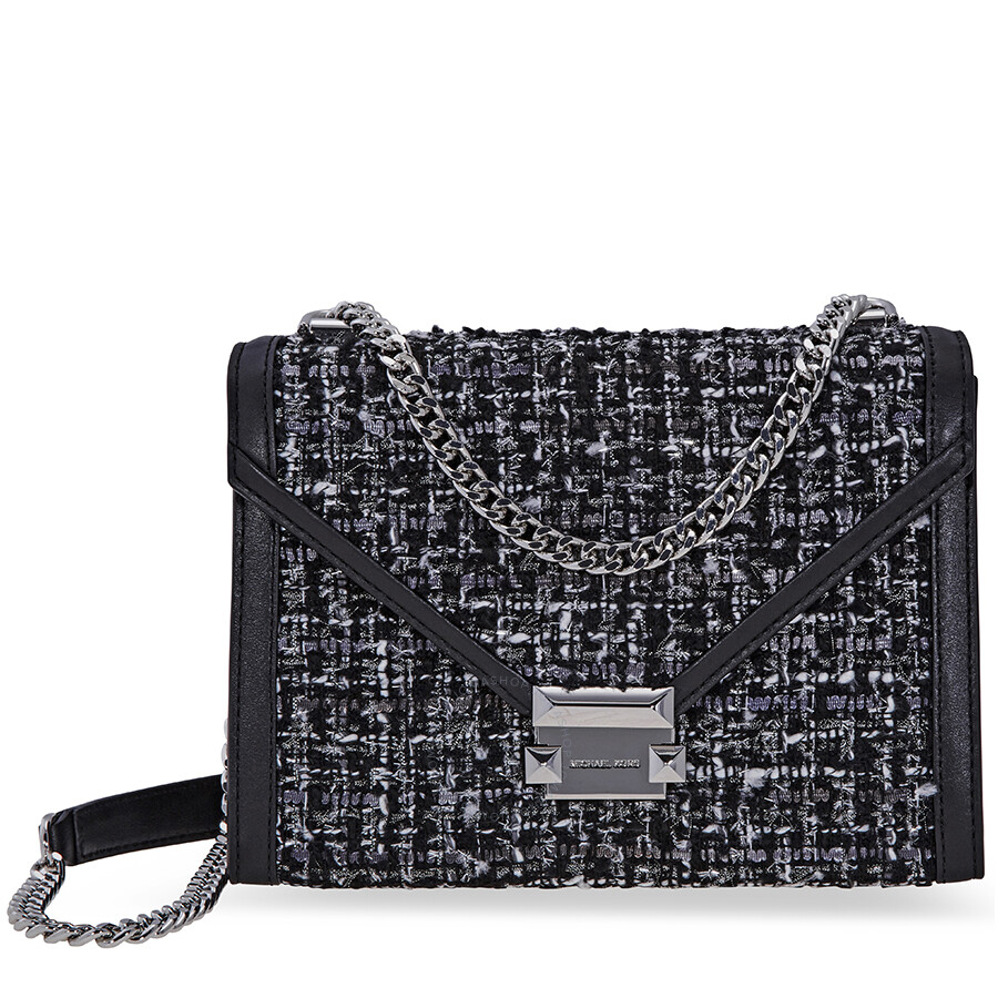 ffda1bfb17d785 Michael Kors Whitney Large Tweed Shoulder Bag - Black Item No.  30F8SXIL7C-001