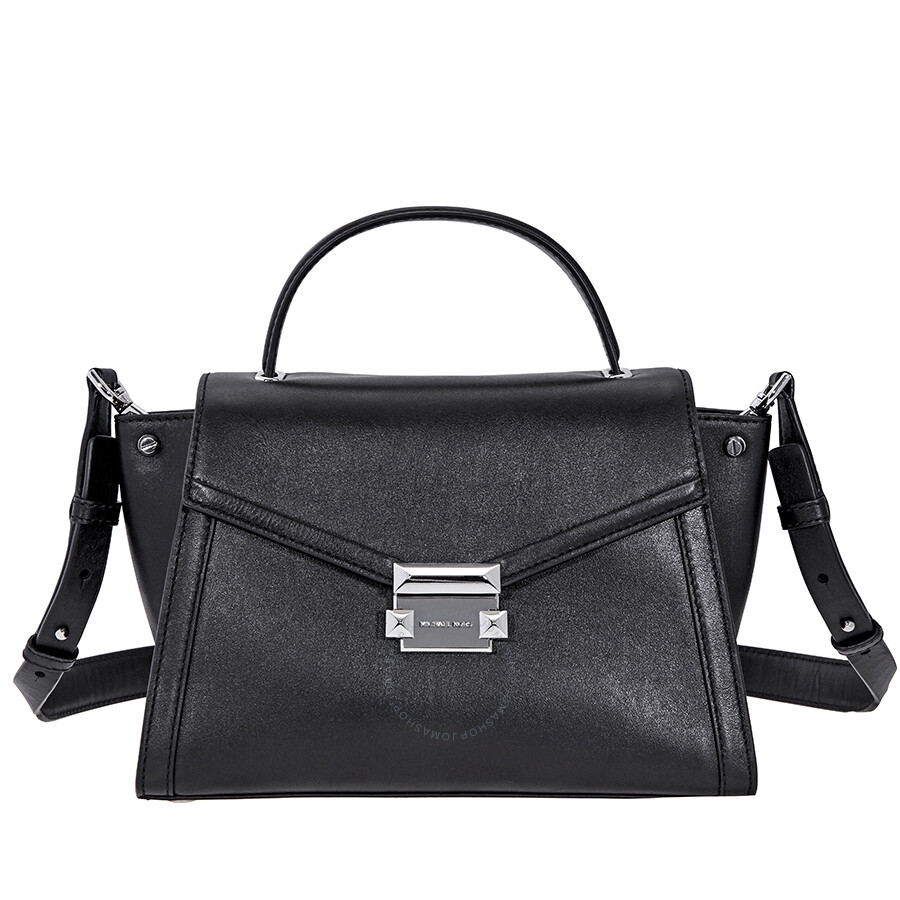 1f6ec569bb2c Michael Kors Whitney Medium Leather Satchel- Black Item No. 30T8SXIS2L-001