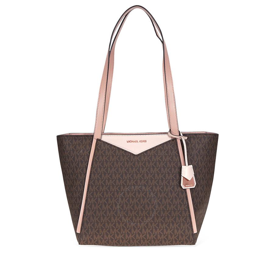 8836926b733 Michael Kors Whitney Medium Signature Logo Tote- Brown/Soft Pink/Fawn