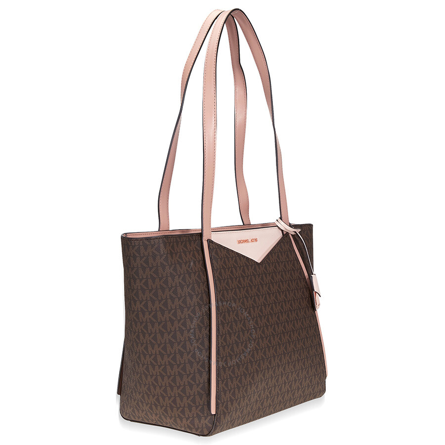 7ba5fae8d0ba70 Michael Kors Whitney Medium Signature Logo Tote- Brown/Soft Pink/Fawn